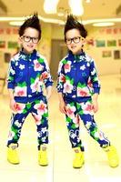 Free Shipping Wholesale(5 pcs/lot) Cotton Flower Pattern Kids Fashion Sports Sets Children Outwear