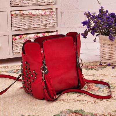 Fashion skull tassel bucket female bag vintage bag rivet one shoulder bag women's handbag(China (Mainland))