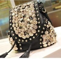2013 spring button bag tassel bucket bag messenger bag backpack bag handbag women's