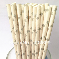 Free shipping 500pcs Paper Straws,Star Paper Straws, Drinking Paper Straws Party Paper Straws Silver Star Mix Colors Accept