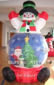 5mH, inflatable Christmas Santa Snow Ball