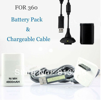 2 in 1 Kit NI-MH 4800 mAh Rechargeable Battery Pack For XBOX 360 Controller + USB Chager Cable For X BOX