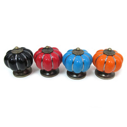40mm Kitchen Ceramic Door Cabinets Cupboard Pumpkins Knobs Handles Pull Drawer 5 colors(China (Mainland))