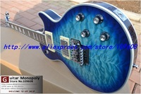 Wholesale - Custom shop Blue wavy top floyd vibrato silver hardware electric guitar free shipping