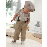Gentleman baby suit/boys suit:khaki long pants with braces +Lapel short-sleeved T-shirt with stripe