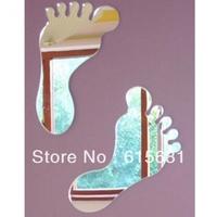 Freeshipping Waterproof acrylic mirror wall sticker / Feet Mirrors
