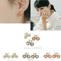 Wholesale Lovely Small Bike Earring Fashion 2012 3 Colors free shipping Min mix order USD 10.00
