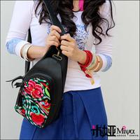 2013 New Arrival Genuine Leather Backpacks Ethnic Embroidery Shoulder Hobo Bag