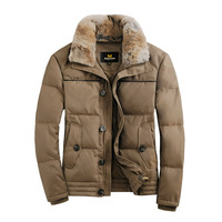 2013 male down coat white duck down jacket winter outwear fur collar short slim design solid color casual turn-down collar