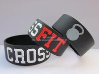 "CROSS FIT BRACELETS,CrossFit Wristband, Silicon bracelet, 1"" wide band, black colour band,50pcs/lot, free shipping"
