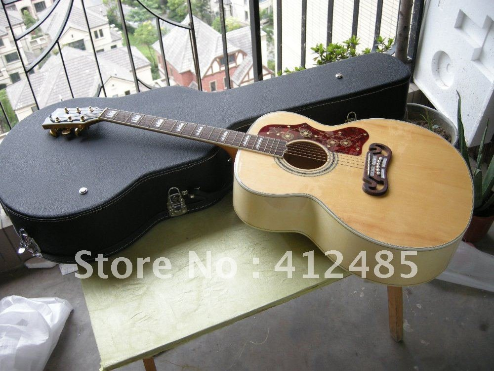 Free shipping wholesale High Quality new style Natural wood color veneer SJ200 Acoustic Guitarwith case(China (Mainland))
