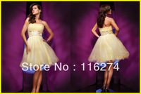 2013 Promotion Free Shipping Yellow A-Line Knee Length Tulle Cocktail Dresses Prom Party Short Dress