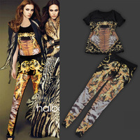 2013 spring fashion women's luxury tantalising honourable tiger fashion twinset slim trousers set