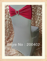 free shipping  fushia color  heart shape buckle spandex band for weddings