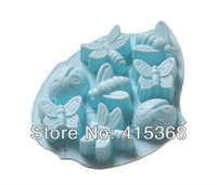 Free shpping! 6pcs 6Cells Silicone Insect Moulds/Mold/Case/Liner/Stand, Radom Colors for Cake/Jelly/Chocolate/ Pudding/Soap