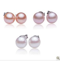 The 8-8.5 mm natural pearl earrings 925 sterling silver stud earrings earrings distribution silver earplugs