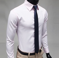 Free Shipping Men's High-end Cotton Shirts Luxury Design Dress Shirts Mens Stripe Slim Casual Shirts Men's Clothes,M-XXL(China (Mainland))