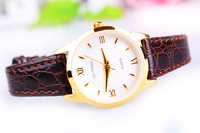 F04901 Commercial Ultrathin Leather Strap Quartz Wrist Watch Best Gift For Office Lady Female + Free Shipping