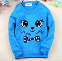 Lovely New Arrival 4 Color Children cotton t shirt cute Big eyes bow long t shirt (Last 3 lot in stock )