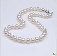 The authentic natural pearl freshwater pearl necklace surrounded by light oblate 8-9 mm pearl 001