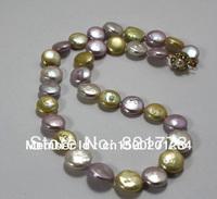 12-13mm multicolor genuine big coin pearl necklace