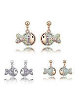 Free shipping Hot sales  Fashion jewelry  Small goldfish glass earrings 4133-64