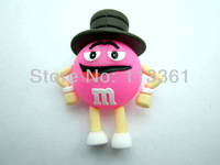 Full 4GB 8GB 16GB 32GB USB 2.0 Flash Pen Drive U-disk Memory Card Stick Mobile Storage Devices Pink  M&M with cap Free Shipping