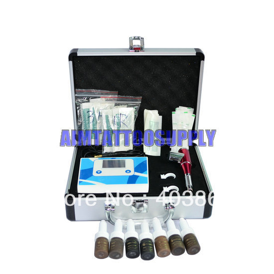 Pro Permanent Makeup Eyebrow Machine kit with 7pcs makeup ink 5ml free shipping(China (Mainland))