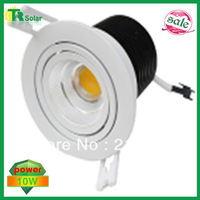 Free shipping(6 pieces/lot)10W AC85~240V high Lumens Two Direction Adjustable cool&warm white Dimmable COB LED Downlight