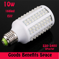 Free shipping +5PCs LED bulb 10W E27 220V Corn Light  White/warm white light LED lamp with 166 led 360 degree Spot light
