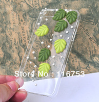 free shipping DIY Handmade Bling Cell Phone Case Cover for iphone 4S 5 with leaf