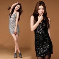 2012 female singer ds sexy tank dress formal dress paillette slim hip slim one-piece dress