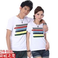 short-sleeve o-neck men T-shirt British fashion stripes style design shirt