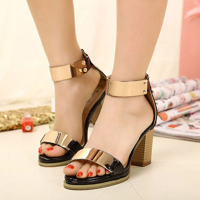 Free Shipping Fashion comfortable platform thick heel sexy high-heeled open toe metal tablets sandals women's shoes(China (Mainland))