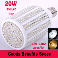 Free shipping +2PCs LED bulb 20W E27 220V Corn Light  White/warm white light LED lamp with 330 led 360 degree Spot light