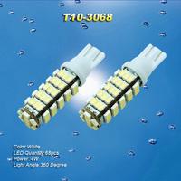 2X PureWhite Car T10 3068 68 SMD LED Side Indicator Backup wedge Light Bulb
