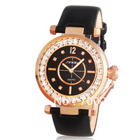 Freeshipping+Fashionable Ladies Brand SINOBI Women&#39;s Jeweled Analog Crystal Diamonds Wrist Watch with Faux Leather Strap
