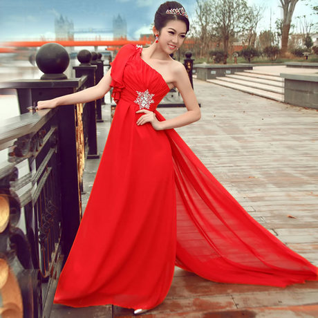 2012 wedding formal dress oblique long design fashion formal dress evening dress femal evening dress evening dress(China (Mainland))
