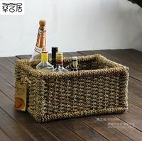 Rattan storage basket rustic wool debris basket fashion desktop storage box drawer