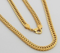 24K Gold Necklace -TTDN17 / 6 MM Figaro chain ,Free shipping ,Wholesale Jewelry,Fashion Necklace,24K Gold Plated Chain for men