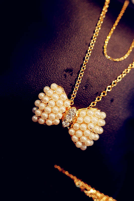 New charming pearl bow drill brief paragraph golden chain necklace/Min.Order is 15 USD(Can place mix order)/Free shipping(China (Mainland))