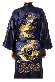 Темно синийСиний Chinese tradition devise Mens robe gown sleepwear with Dragon ...