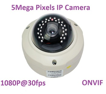 New 5.0megapixel 2.8-12mm varifocal lens waterproof Day&Night indoor&outdoor IP Dome camera, 5MP ONVIF IP Camera 1080P@30fps