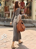 2013 cotton fine cashmere o-neck long-sleeve big one-piece dress full dress women apparel