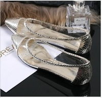 free shipping,Euramerican clear pointed toe flats,woman shoes low heels, women shoes.casual pumps,black and gold