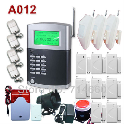 Wireless Home Alarm System w/ Auto Dialer Phone Line LCD 99 wireless zones 3 IR, 8 door contact, 4 keys, 3 sirens(China (Mainland))