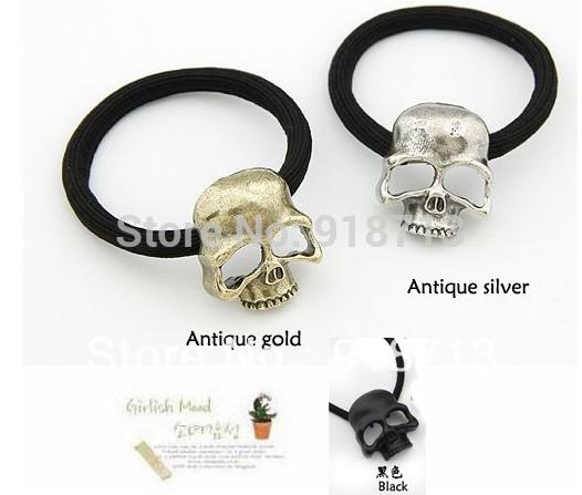 Skull Hairbands, New Punk Style Fashion Hair Elastics, Hair Ornaments, Hair Accessories, Hair Elastic Cord(China (Mainland))