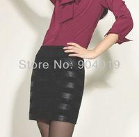 Women's PU Leather Wear to work Office OL Side Zipper Short Skirt Mini Dress Silk Lining