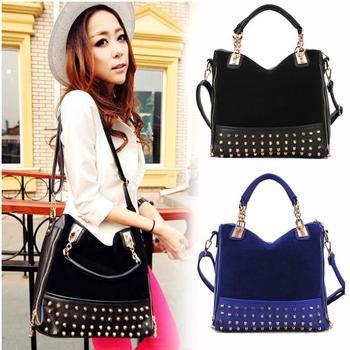 Free Shipping SALE Female 2014 fashion scrub rivet bag messenger bag multi-purpose women's handbag big bags Free Shipping
