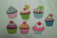 Wholesale  Multi Design Embroidered cupcake Applique Iron On Patch, 5cm